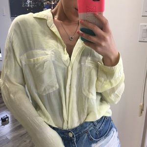 Yellow Anthropologie / Skyscape Button-down Top